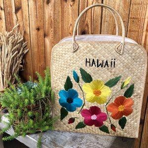 Vintage Hawaiian Souvenir Wicket Tote Floral